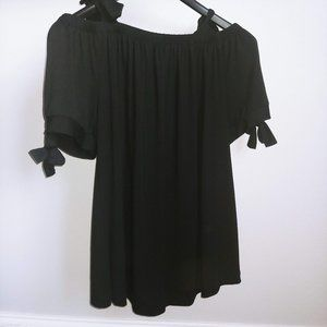 Lane Bryant Black Cold Shoulder Bow Tie Swing Tee